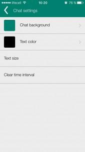 Settings - chat